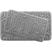 Bath Studio Thea Large 2 Piece Premium Micro Plush Memory Foam Bath Mat Set (Set of 2); Light Grey