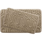 Bath Studio Thea Large 2 Piece Premium Micro Plush Memory Foam Bath Mat Set (Set of 2); Linen