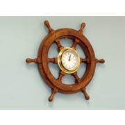 Handcrafted Nautical Decor Deluxe Class 18'' Wood and Chrome Pirate Ship Wheel Clock; Brass