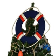 Handcrafted Nautical Decor Blue Jacket Lifering Christmas Tree Topper Decoration