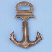 Handcrafted Nautical Decor Anchor Cork Screw Bottle Opener; Antique Brass