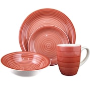 Lorren Home Trends Swirl 16 Piece Dinnerware Set; Red