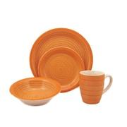 Lorren Home Trends Swirl 16 Piece Dinnerware Set; Orange