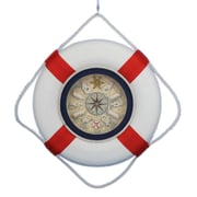 Handcrafted Nautical Decor Decorative Lifering  18'' Clock w/ Bands; Red