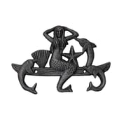 Handcrafted Nautical Decor 9'' Cast Iron Wall Mounted Mermaid with Dolphin Hook; Rustic Silver