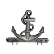 Handcrafted Nautical Decor Anchor 7'' Rustic Silver Cast Iron Wall Hooks; Rustic Silver