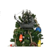 Handcrafted Nautical Decor Flying Dutchman Wooden Model Pirate Ship Christmas Tree Topper Decoration