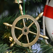Handcrafted Nautical Decor Ship Solid Brass Wheel Christmas Tree Ornament