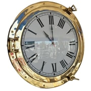 Handcrafted Nautical Decor Deluxe Class Porthole 20'' Clock; Brass
