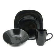 Lorren Home Trends Morella 16 Piece Dinnerware Set; Black