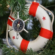 Handcrafted Nautical Decor Ship Chrome Wheel Compass Christmas Tree Ornament