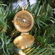 Handcrafted Nautical Decor Solid Brass Magellan Compass Christmas Tree Ornament