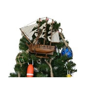 Handcrafted Nautical Decor Darwin's HMS Beagle Model Ship Christmas Tree Topper Decoration