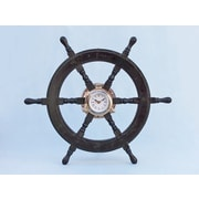 Handcrafted Nautical Decor Deluxe Class Oversized 24'' Wood and Chrome Pirate Ship Wheel Clock