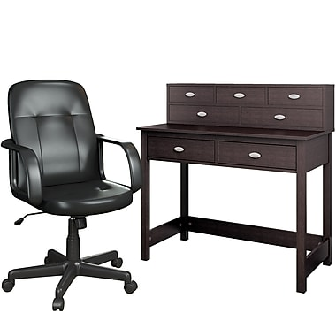 CorLiving WFP-870-Z1 Folio 2-Piece Modern Wenge Desk & Office Chair Set