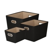 Honey Can Do Decorative Storage Tote Kit with Handles Black 3/Set (SFTZ03593)