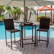 AZ Patio Heaters Wicker 3 Piece Bar Height Bistro Dining Set; Dark Brown
