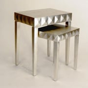 Wayborn Modern Silver Reflective Nesting Tables