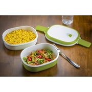 Modernhome Double Stacked 3 Piece Rectangular Microwavable Lunch Bowl Set; Chartreuse Green