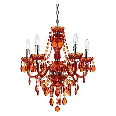 AF Lighting 5 Light Crystal Chandelier; Orange