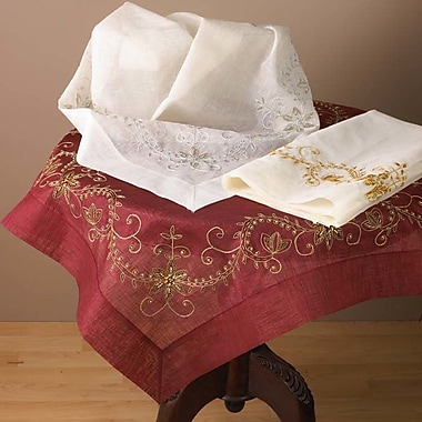 Saro Embroidered and Hand Beaded Table Cloth; Burgundy