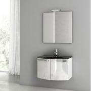 ACF Crystal Dance 27.6'' Single Bathroom Vanity Set with Mirror; Glossy White