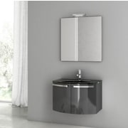 ACF Crystal Dance 27.6'' Single Bathroom Vanity Set with Mirror; Glossy Anthracite