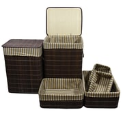 ORE Furniture 6 Piece Square Folding Bamboo Laundry Hamper and Tray Set
