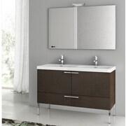 ACF New Space 47'' Single Bathroom Vanity Set with Mirror; Wenge