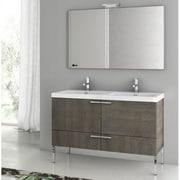 ACF New Space 47'' Single Bathroom Vanity Set with Mirror; Gray Oak Senlis