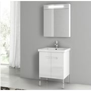 ACF New York 24.4'' Single Bathroom Vanity Set; Glossy White