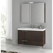 ACF New Space 39.2'' Single Bathroom Vanity Set with Mirror; Wenge