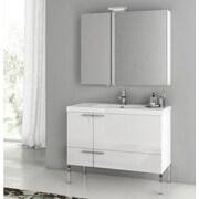 ACF New Space 39.2'' Single Bathroom Vanity Set with Mirror; Larch Canapa