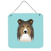 Caroline's Treasures Checkerboard Blue Sheltie Hanging Graphic Art Plaque; 6'' H x 6'' W x 0.02'' D