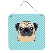 Caroline's Treasures Checkerboard Blue Fawn Pug Hanging Graphic Art Plaque; 6'' H x 6'' W x 0.02'' D
