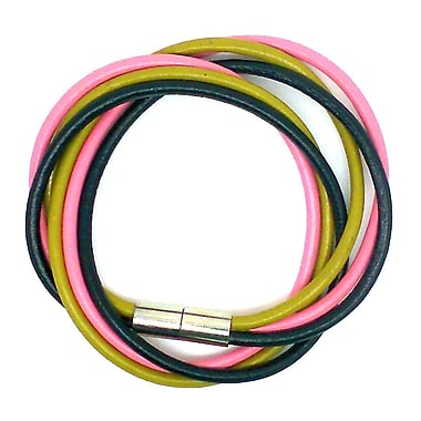 Best Desu Multi Strands Leather Bracelet, Black/pink/yellow