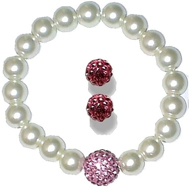Best Desu Swarovski Elements Crystal Pearl Bracelet With Balla Earrings, Pink