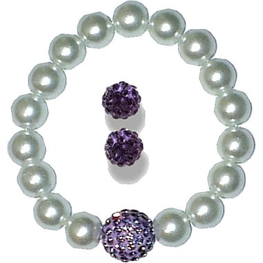 Best Desu Swarovski Elements Crystal Pearl Bracelet With Balla Earrings, Purple