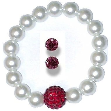 Best Desu Swarovski Elements Crystal Pearl Bracelet With Balla Earrings, Red