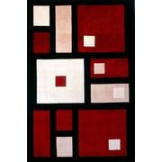 Momeni New Wave Black/Red Area Rug; Runner 2'6'' x 12'