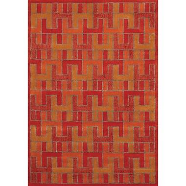 Kalora Manika Orange/Red Area Rug; 5'3'' x 7'7''