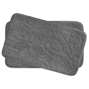Bath Studio Stencil Floral Small 2 Piece Plush Memory Foam Bath Mat Set; Dark Grey
