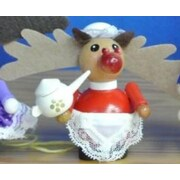 PinnaclePeak Steinbach Miss Rudolph the Reindeer with Teapot German Wood Christmas Ornament