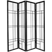 Oriental Furniture 70.25'' x 56'' Eudes Shoji 4 Panel Room Divider; Black