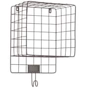 Urban Trends Metal Wall Shelf with Mesh Sides Hook and Card Holder