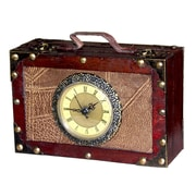 Quickway Imports Antique Suitcase with Clock