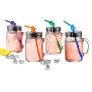 Artland Oasis Mason Jar with Lid and Straw (Set of 4)
