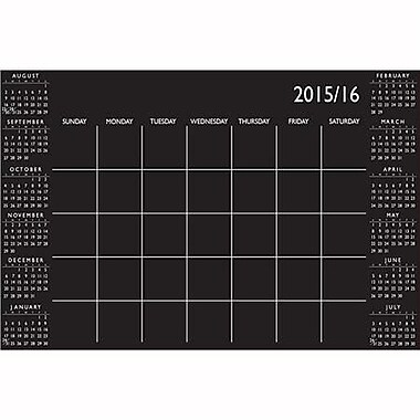 Wall Pops Dry Erase Academic Calendar, Aug-July, Black &White