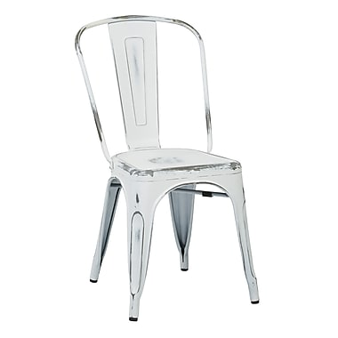 OSP Designs Metal Dining Chair with Backrest, Antique White