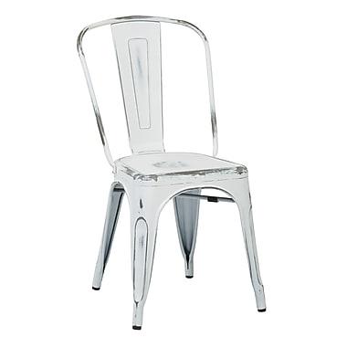 OSP Designs – Chaises pour salle à manger en métal avec dossier, blanc antique